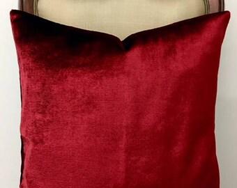 Luxury Red Velvet Pillow Cover, Red Pillows, Velvet Pillow, Throw Pillows, Decorative Pillow, Velvet Cushion Case, Red Velvet Pillow Covers