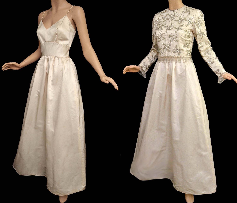 Vintage 60s Wedding Gown 1960s Ivory Wedding Dress Spaghetti