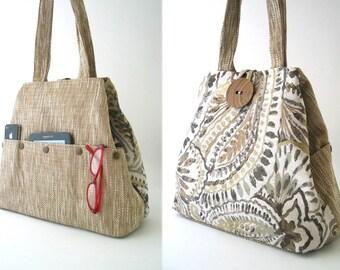 shoulder tote bag convert to Large handbag, womens laptop bag,  large purse, diaper bag, fabric handbag, multi pocket bag, ready to ship