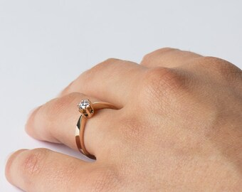 Delicate Engagement Ring, Modern Engagement Ring, Solitaire Ring, Single Diamond Ring, 14K Rose Gold, Fine Ring
