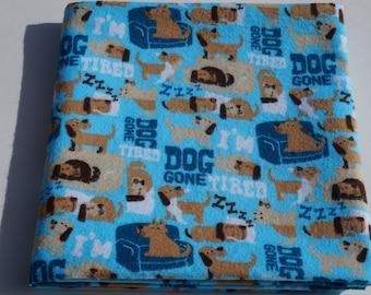 Baby Flannel Receiving Blanket, Dog Tired Blanket, Swaddle Blanket, Large Blanket, Sleepy Dogs, Blue and Brown, Dog Gone Tired, Baby Blanket