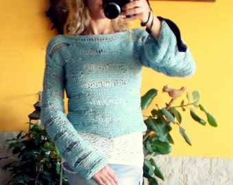 Boho Vegan Sweater, Womens Hand Knitted Cropped Jumper, Vegan Girlfriend Gift, Loose Knitted Blouse