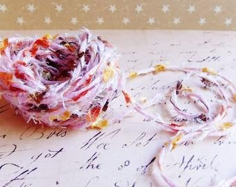 Bubble Gum Pink Citrus multicolor Confetti Twist novelty ribbon- fiber art european specialty trim scrapbook embellishment gift wrap supply