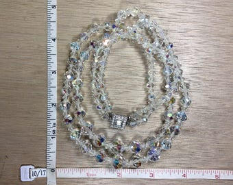 "Vintage 18"" Necklace Aurora Borealis Beads Used Lot FFF"