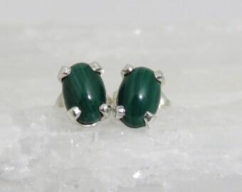 Genuine Malachite Studs, 6x4 mm, Sterling Silver, Natural Green Stone, Oval Studs, Dark Green Studs,  Mens Studs, Womens Studs