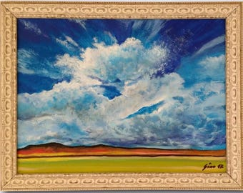 Striking Sky -Original Painting Framed & Signed Emptiness Peaceful Landscape Dramatic Sky Clouds Infinity Gino's Gallery Generoso Napoliello