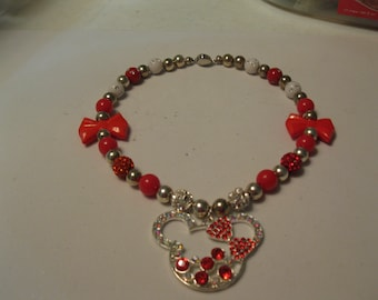 Girls Necklace with red and white beads and rhinestone minnie mouse pendant