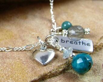 Yoga Jewelry, Breathe Charm Necklace, Chakra Jewelry, Sterling Silver