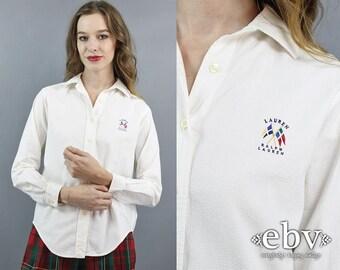 Ralph Lauren Blouse White Blouse Cotton Blouse Schoolgirl Blouse Longsleeve Blouse Preppy Blouse Textured Cotton Blouse 90s Blouse M