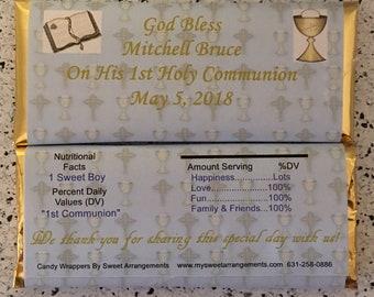 Boy Communion Candy Wrapper, Communion Favor, boy communion favor, communion favors, communion candy wrappers