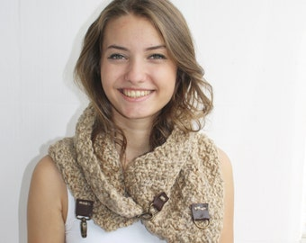 Hand Knitted Milky Brown Wool Chunky Scarf / Loop Cowl / Collar with leather link Scarf Christmas gift / gift for her