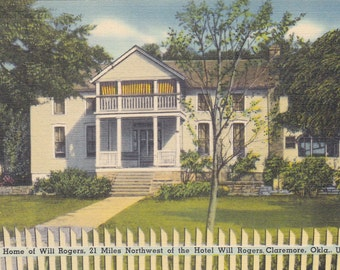 Claremore, Oklahoma, Home of Will Rogers - Vintage Postcard - Postcard - Unused (T)