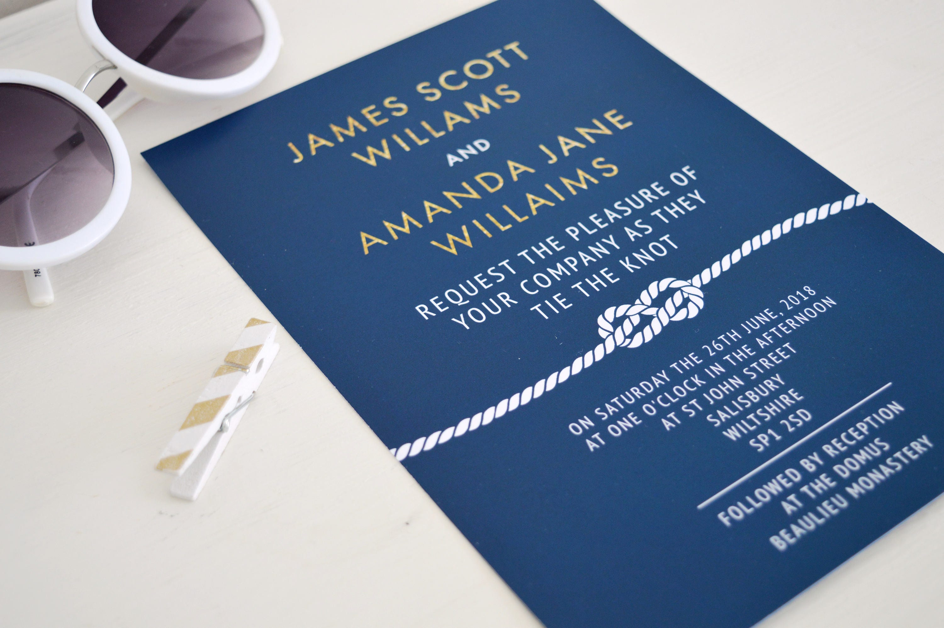 Nautical wedding invitation suite navy and gold wedding invitation