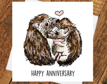 Happy Anniversary Hedgehog Hedgehug girlfriend husband wife boyfriend fiancé pun cute animal funny hugs girlfriend love him her wife husband