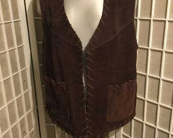Suede Vest 1970's Large Perfect Condition