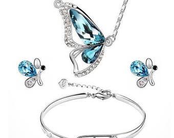 JEWELRY-#1-Butterfly Jewelry Set Necklace + Earring+Bracelet Crystal Set Fashion Jewelry