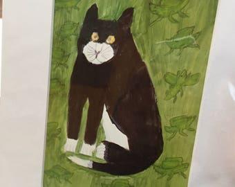 Vintage Max Raffler Cat Print ~ Matted ~ Over All Measurement 8x10