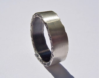 8mm Sterling Silver Rough Edge Band