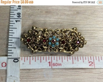 10%OFF3DAYSALE Vintage Gold Toned Pin Brooch Blue Red Accent Stones Used