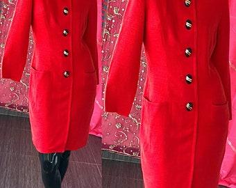 Ann Lawrence Dress 80s Avant Garde Mod Red Tailored Beaded Party Dress