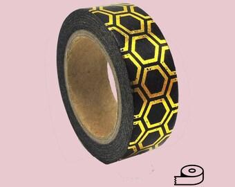 Black and Metallic Gold Geo Washi Tape