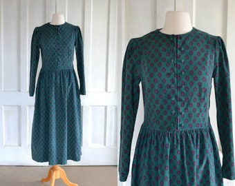 Laura Ashely Dress Vintage Laura Ashley Pinwale Corduroy Print Midi Dress