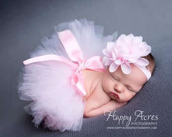 Palest Pink Newborn Tutu and Headband, newborn tutu, baby tutu, newborn photography prop, birthday tutu