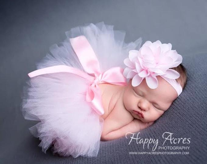 Featured listing image: Palest Pink Newborn Tutu and Headband, newborn tutu, baby tutu, newborn photography prop, birthday tutu