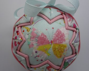 Quilted Fabric Ornament Spring Butterfly Garden