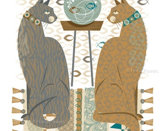 Cats, muted colours limited edition giclée print A4