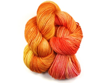 Orange You Sweet!--hand dyed sock yarn, 2ply merino and nylon, (400yds/100gm)
