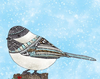 Adorable Holiday Chickadee in snow watercolour 8x10 wall art print illustration