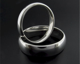 Wedding Ring set, 18ct white gold court 4mm and 6mm polished handmade classic matching wedding bands for a woman and a man.