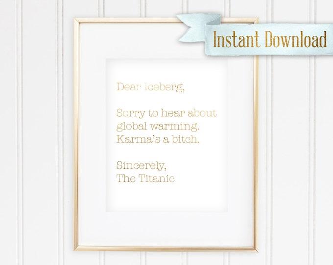 Dear Iceberg - Printable - Instant Download