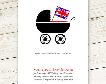 British Pram Baby Shower Invites - #print & Ship OR #Digital #Printable #DIY