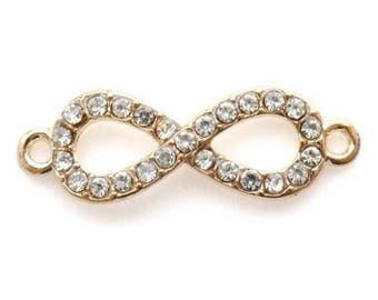 Insert infinity rhinestone 33x10mm - gold plated (2 pieces)
