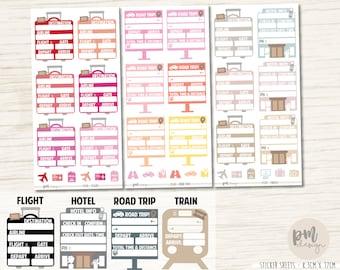 Travel Info Full Box Stickers - Flight, Hotel, Road Trip & Train - EC Planner Stickers - FS30