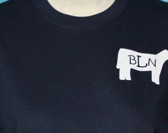 Monogrammed youth t-shirt - Livestock shower monogrammed shirt - Heifer t-shirt - Personalized heifer t-shirt - monogrammed cow t-shirt