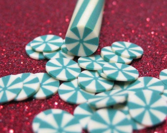 green mint polymer clay cane candy kawaii holiday Christmas uncut 1pc for miniature sweets decoden and nail art supplies
