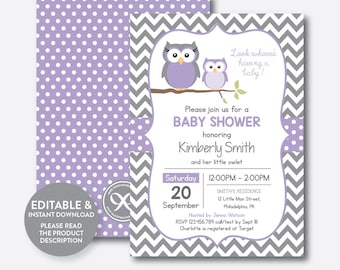 Owl baby shower invitation etsy instant download editable owl baby shower invitation purple owl invitation boy girl filmwisefo Images
