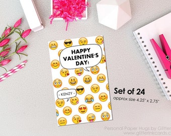 Mini Valentine Cards / Emoji Valentine Cards / Class Valentines for kids / Cute Valentines for Kids / Classroom Valentine's Day Cards / vday