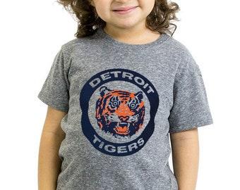 Detroit Tigers Tshirt Fort Kids Toddler Youth Boys Girls  Triblend Tigers world series logo USA Made Tigers Fan Gift Baseball Shirt