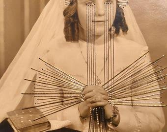 antique french communion Photo brodée clémence