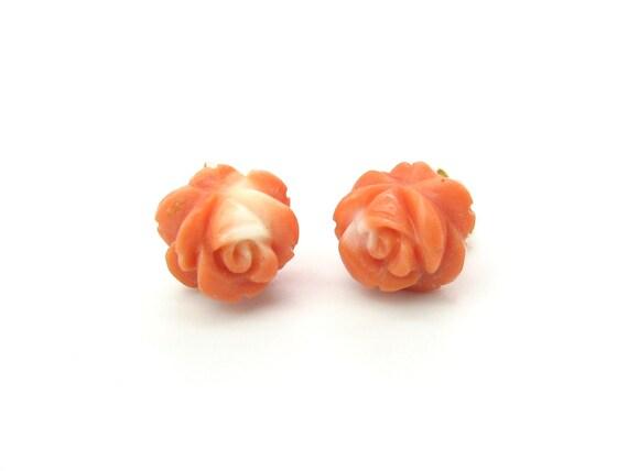Vintage Carved Coral Rose Flower Earrings 14K Gold Posts