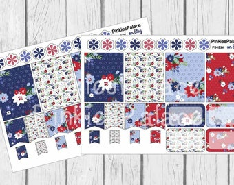 4th of July Planner Stickers Full Box Half Box Flags Red White Blue Flowers Stickers Made to Fit Erin Condren PS423