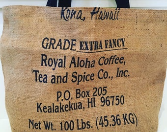Kona Coffee Sack Tote/ Beach Bag/ Market Tote/ Vacation