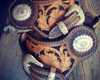 Western Leather spur straps, free shipping!