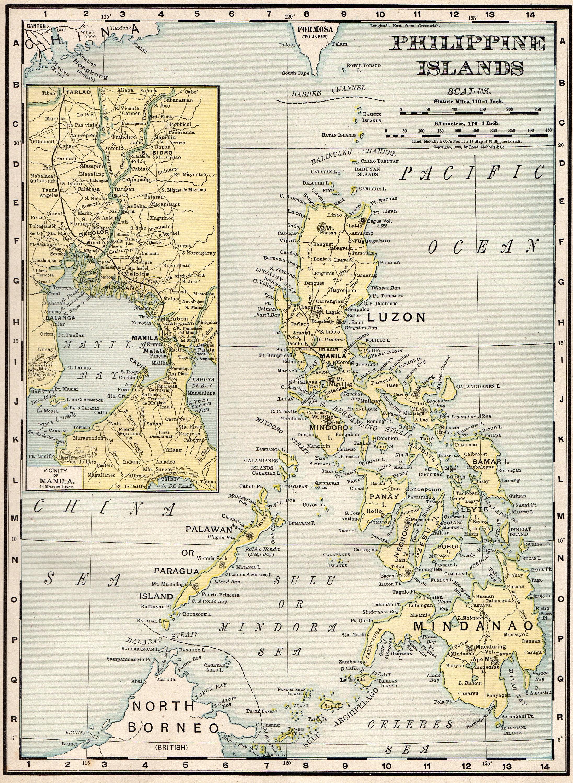 1900 Antique PHILIPPINES Map Vintage Philippine Islands Map