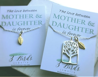 Mother's Day. Tree and Leaf Necklace Mother Daughter SET. Sterling Silver or 14k gold. The love between Mother and Daughter is forever