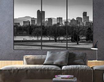 Denver Skyline Canvas Set, B&W Denver Print, Large Wall art, Denver Canvas, Denver Art, Denver Photo, Large Wall art, Rocky Mountains,Poster